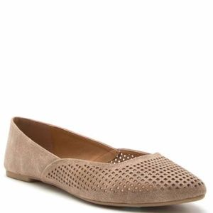 Shoes - Distresssed Perforated Taupe Flat